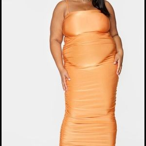 Plus Orange Strappy Slinky Ruched Back Maxi Dress